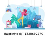 room cleaning with music flat... | Shutterstock .eps vector #1538692370