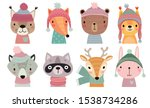 christmas set with cute forest... | Shutterstock .eps vector #1538734286