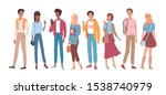 young people group flat vector... | Shutterstock .eps vector #1538740979