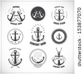 set of vintage anchors with... | Shutterstock . vector #153877070