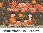 2020  year of the rat  happy... | Shutterstock .eps vector #1538786396