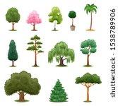 tree types vector green forest... | Shutterstock .eps vector #1538789906