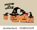 halloween cute pumpkin march... | Shutterstock . vector #1538914139