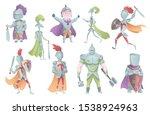 medieval knights in full armor...   Shutterstock .eps vector #1538924963
