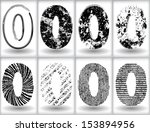 set of grunge numbers. vector... | Shutterstock .eps vector #153894956