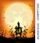 halloween background with the... | Shutterstock .eps vector #1538997260