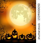 halloween background with... | Shutterstock .eps vector #1539000050