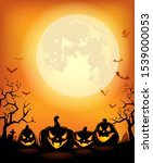 halloween background with... | Shutterstock .eps vector #1539000053
