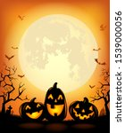halloween background with... | Shutterstock .eps vector #1539000056