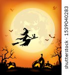 halloween background with... | Shutterstock .eps vector #1539040283