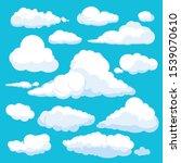 fluffy cartoon clouds. shine... | Shutterstock . vector #1539070610