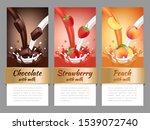 fruits and chocolate splashes.... | Shutterstock . vector #1539072740