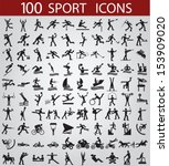 100 black sports icons on a... | Shutterstock .eps vector #153909020