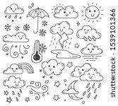 set of weather doodles vector... | Shutterstock .eps vector #1539101366