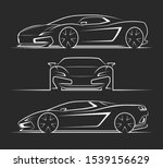 sports car silhouettes ... | Shutterstock .eps vector #1539156629