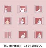 people in window frames .... | Shutterstock .eps vector #1539158900