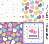 vector set of seamless love... | Shutterstock .eps vector #153918713