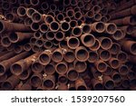 Rusty Pipes Background. End...