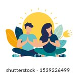 vector illustration. yoga... | Shutterstock .eps vector #1539226499