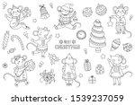 set christmas mouse outline.... | Shutterstock .eps vector #1539237059