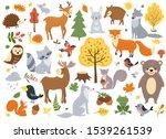 woodland animals set. cute fox  ... | Shutterstock .eps vector #1539261539