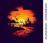 halloween night background with ... | Shutterstock .eps vector #1539268163