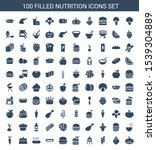 100 nutrition icons. trendy...