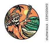 summer vibes skeleton horror... | Shutterstock .eps vector #1539320693