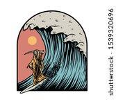 grim reaper surfing summer... | Shutterstock .eps vector #1539320696
