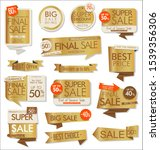 sale stickers and tags golden...   Shutterstock . vector #1539356306