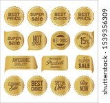 sale stickers and tags golden... | Shutterstock . vector #1539356309