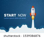 rocket spaceship launch to... | Shutterstock .eps vector #1539386876