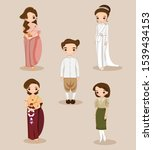 cute thai bride and groom in... | Shutterstock .eps vector #1539434153