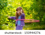 happy girl with red hair with a ... | Shutterstock . vector #153944276