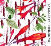Red Fuchsia Botanical Flowers....