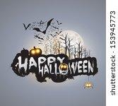 happy halloween card template   ... | Shutterstock .eps vector #153945773