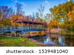 Covered Bridge Along A Creek I...