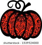 mandala pumpkin stock drawing.... | Shutterstock .eps vector #1539524000