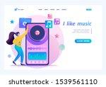 young teen girl listening to... | Shutterstock .eps vector #1539561110
