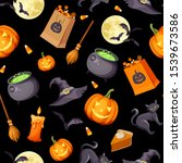 vector halloween seamless... | Shutterstock .eps vector #1539673586