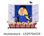 happy kid opens the window....   Shutterstock .eps vector #1539706529