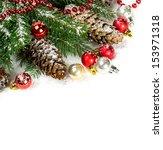 christmas decoration over white | Shutterstock . vector #153971318