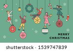 people ride on the christmas... | Shutterstock .eps vector #1539747839