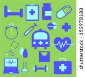set of health icons on green... | Shutterstock .eps vector #153978188