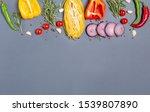 fresh vegetables spaghetti and... | Shutterstock . vector #1539807890
