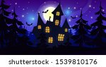 silhouette of a castle house in ... | Shutterstock .eps vector #1539810176