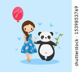 cute girl and panda for happy... | Shutterstock .eps vector #1539853769