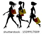 Black Silhouette Of Shopping...