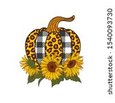bright sunflowers and leopard... | Shutterstock .eps vector #1540093730