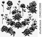 collection of roses on a white... | Shutterstock . vector #1540115000